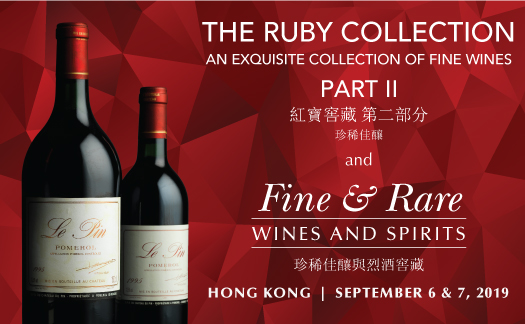 The Ruby Collection Part II and<br>Fine & Rare Wines & Spirits,<br>Hong Kong<br>September 6 & 7