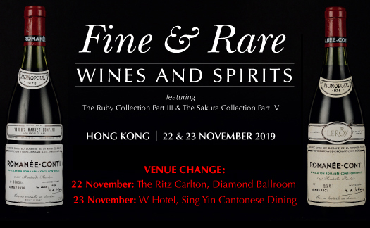 The Ruby & Sakura Collection and Fine & Rare Wines & Spirits, Hong Kong <br>November 22 & 23